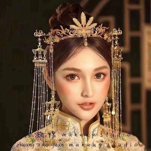 Image 1 - 花嫁新スタイル古代衣装帽子中国のフェニックスクラウン宮殿レトロ房の耳セット