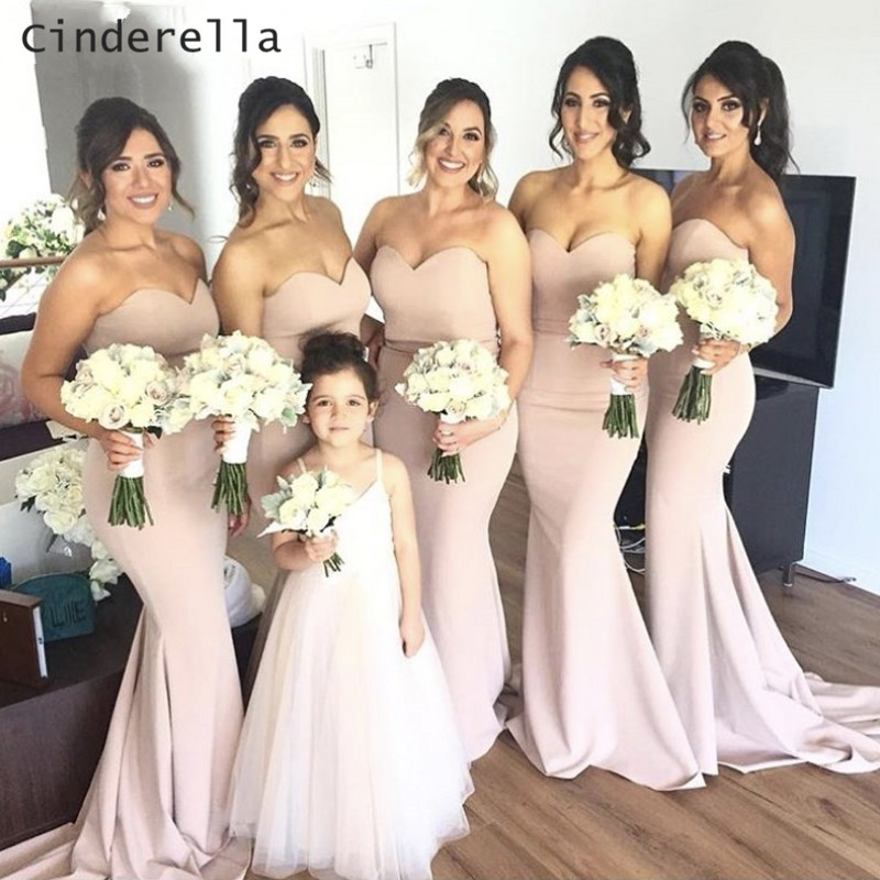 Cinderella Sexy Sweetheart Sleeveless Mermaid Sweep Train Satin Pink/Burgundy Bridesmaid Dresses Trumpet Wedding Party Gown