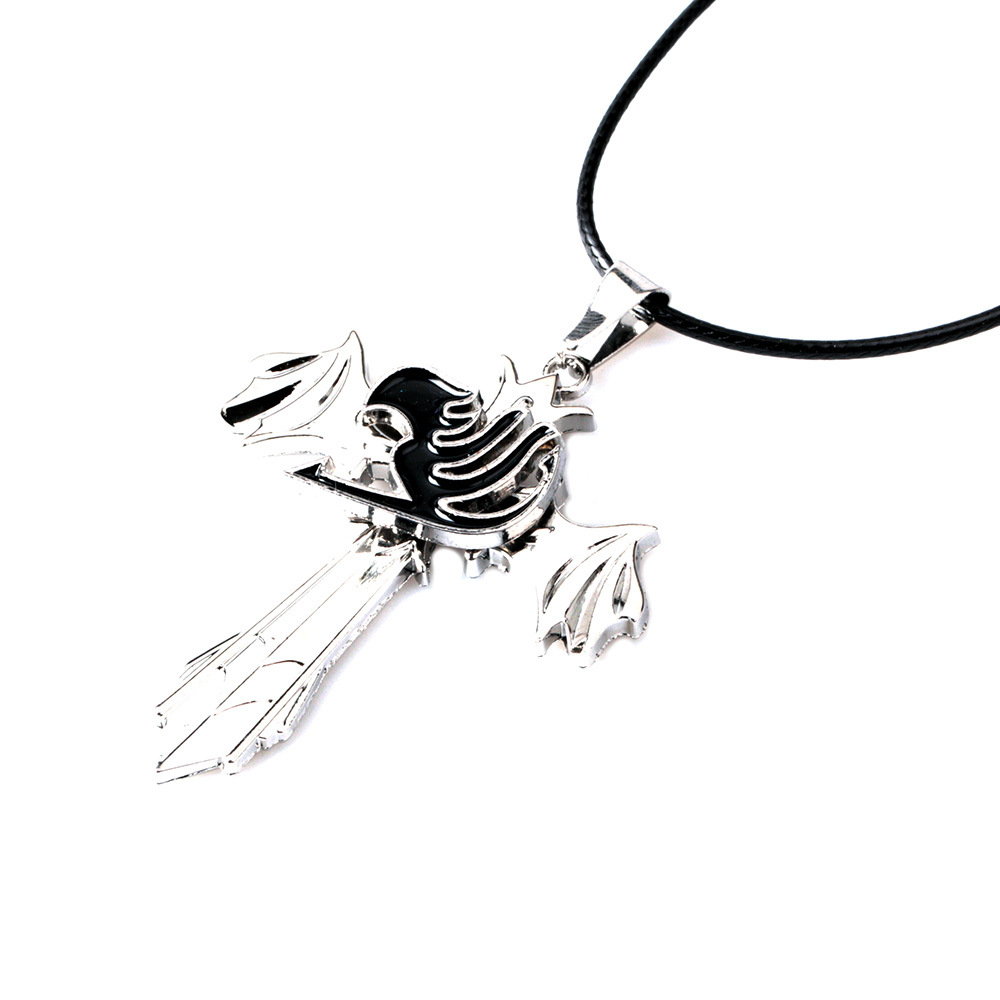 Anime Fairy Tail Rotatable Choker Necklace Pendant Cosplay Jewelry Gift