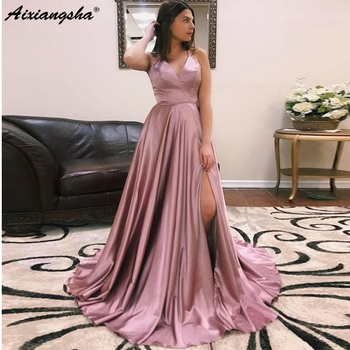 Simple Pink Satin Evening Dresses 2019 Robe De Soiree Long Spaghetti Strap Prom Formal Dresses High Quality Custom Made Halter