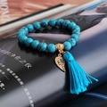Turquoise braclet pulseras mujer natural stone beads bracelets bracciale uomo alloy pendant tassels bracelet armbanden for women