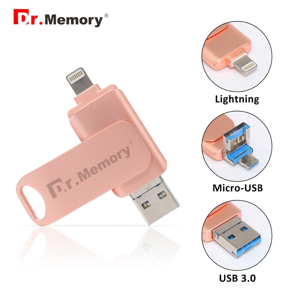Dr. Memory 3 in 1 Metal Usb 3.0 Flash Drive 4GB 8GB Multifunction Pendrives 16GB 32GB 64GB 128GB Usb Stick Funny Pink Girl Gift