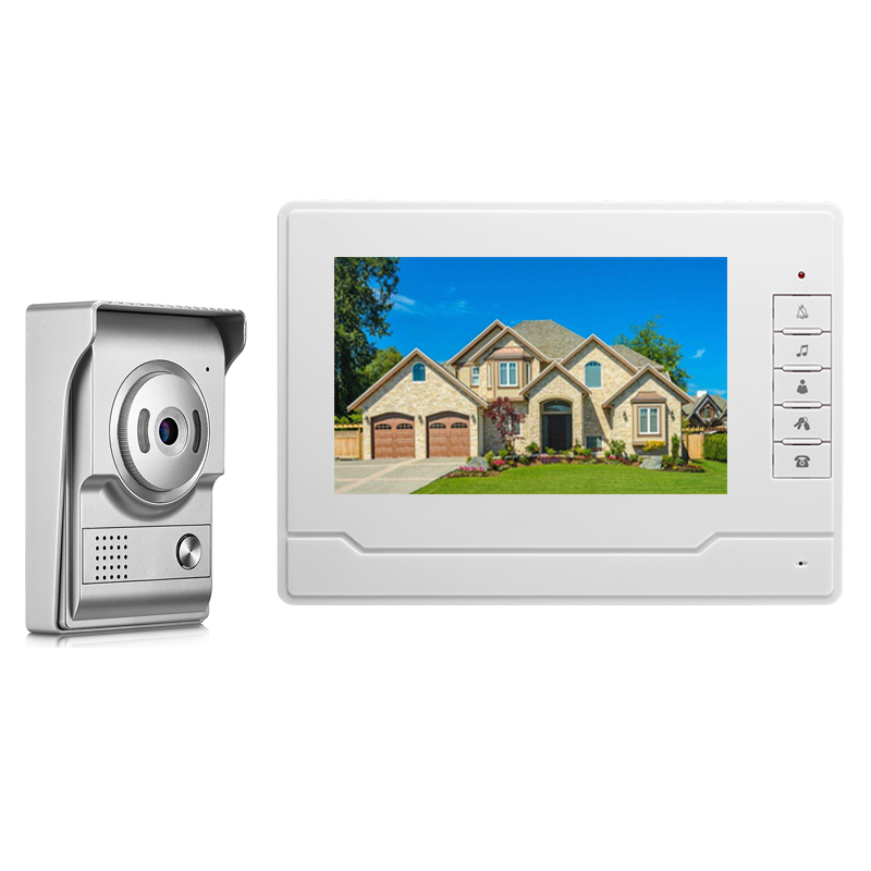7'' TFT LCD Wired Video Door Phone Visual Video Intercom Speakerphone Intercom System With Waterproof Outdoor IR Camera