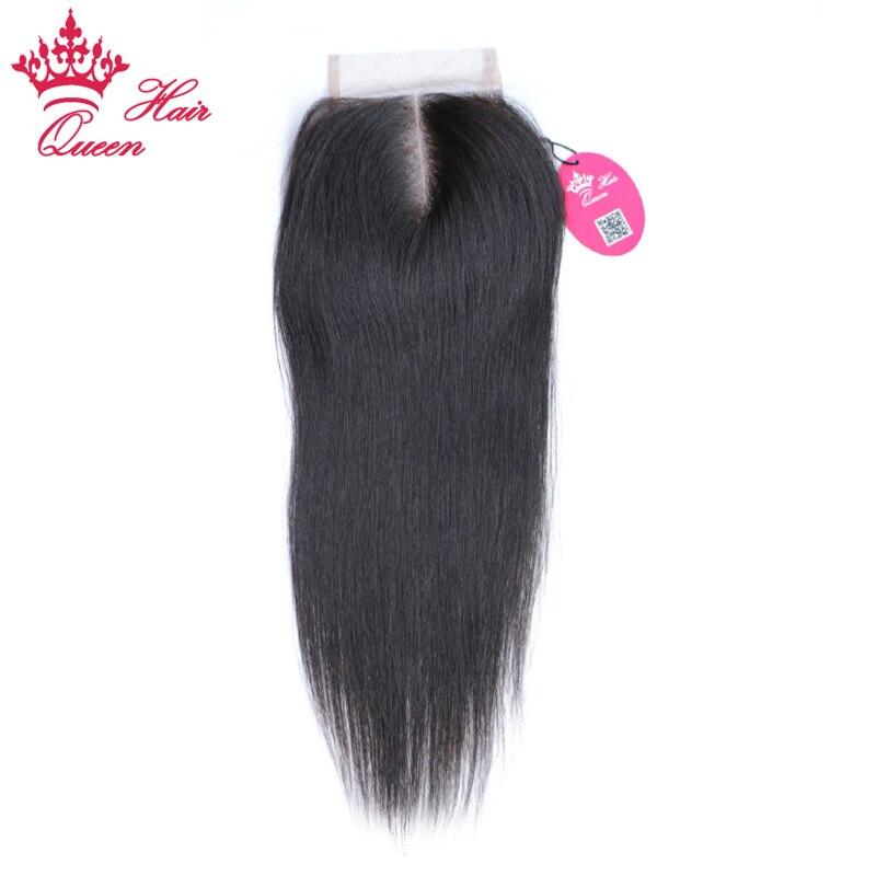 Queen Hair Продукты бразильского Виргинские волос Синтетическое закрытие волос 3.5x4 средней части прямой Natural Цвет отбеленные узлы Швейцарский К...