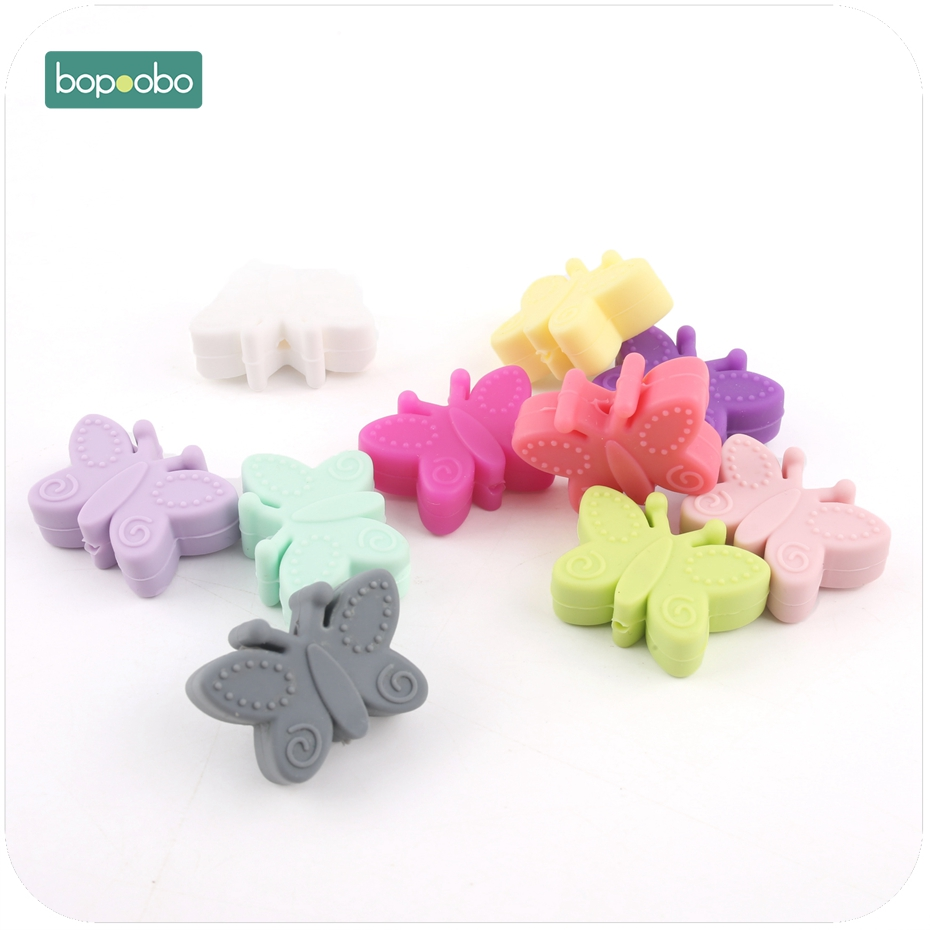 Bopoobo 5pc Silicone Small Butterfly Beads For Baby Teething DIY Crafts Silicone Flower BPA Free Silicone Beads Baby Teether