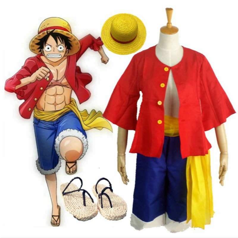 AnimeCosplay for Monkey D Luffy of One Piece Straw Sandals Hat Wig Popular Japanese Vestidos Costume Halloween Carnaval Party