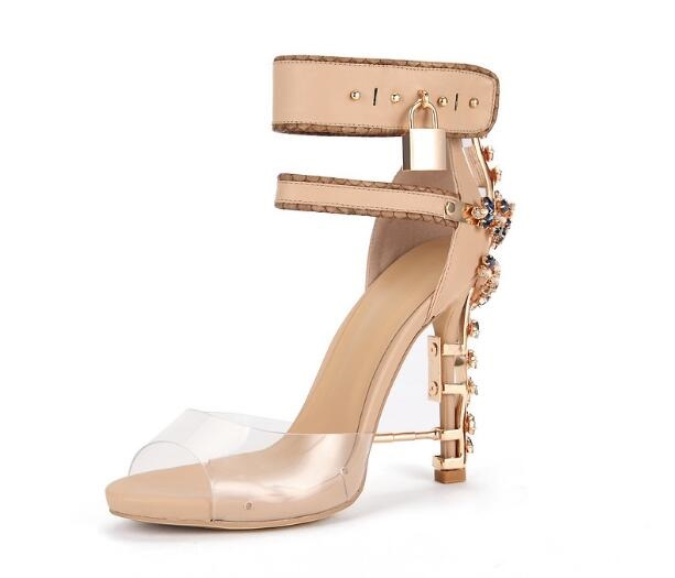Gorgeous Crystal Embellished Sandals Noble Padlock Strange Heel Ankle Wrap Shoes Woman Summer Gladiator Sandals Boots Size 10 2017 new ankle wrap rhinestone high heel shoes woman abnormal jeweled heels gladiator sandals women pvc padlock sandals shoes