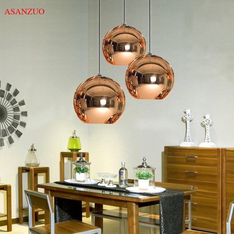 Glass Pendant Lights Diameter 15cm/20cm Round Ball Hanging Lamp Golden/Copper/Silver Glass Plating Space Ball Cord Pendant Light
