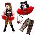 Cute Deer Children's Christmas Costumes Baby Dress Leopard Pants Headbands Girls 3 Piece Set Kids Clothes Suit Toddler Clothing