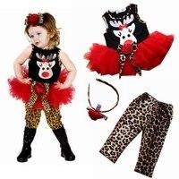 Leuke Herten kinderen Kerst Kostuums Baby Jurk Luipaard Broek Hoofdbanden Meisjes 3 Stuk Set Kids Kleding Pak Peuter Kleding