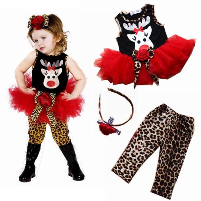 Mignon De Noel De Cerfs Enfants Costumes Bebe Robe Leopard Pantalon Bandeaux Filles 3 Pieces Ensemble Vetements Pour Enfants Costume Vetements Pour Bebe Lighting Comm U37