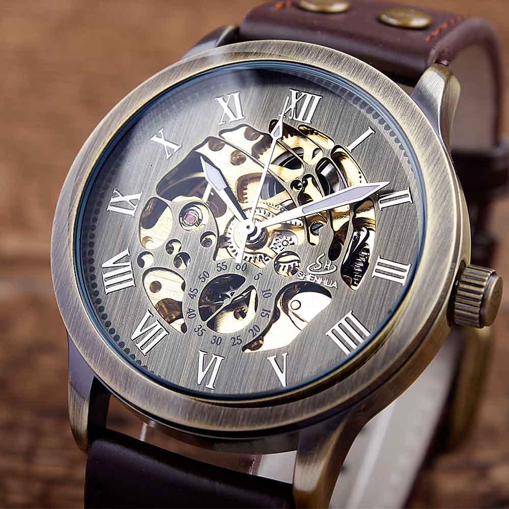 Prix pour Top Marque Mécanique Montres Mâle Mode Rétro Bronze Squelette Automatique Mécanique Montre En Cuir Montre-Bracelet Reloj Hombre
