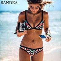 BANDEA 2017 Hot Design Retro Style Simple Model Brazilian Sexy Printing Swimsuit Bikini Halter Padded Biquinis