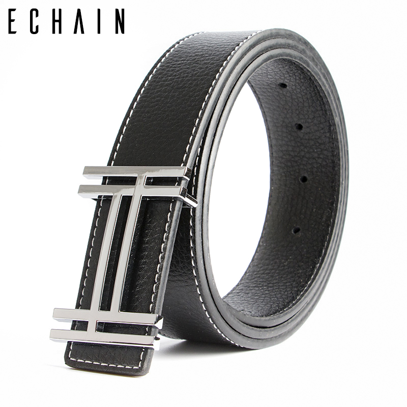 ECHAIN Luxury H Brand Designer   Belts   Men High Quality Male Casual Genuine Real Leather H Buckle Strap for Jeans Blue