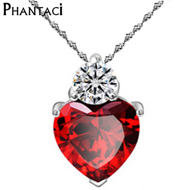 Luxury Female Red Heart Pendant Silver Color AAA CZ Crystal Rhinestone  Infinity Chain Choker Necklace For 454b53d320c3
