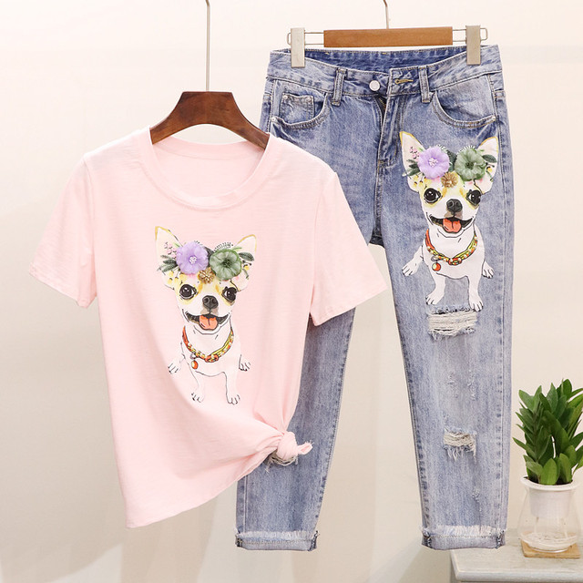 Alphalmoda 2018 Cute Dog Appliques Tshirts + Jeans 2pcs Set Summer Short Sleeved T Shirt + Ripped Jeans Women Fashion Suits by Alphalmoda