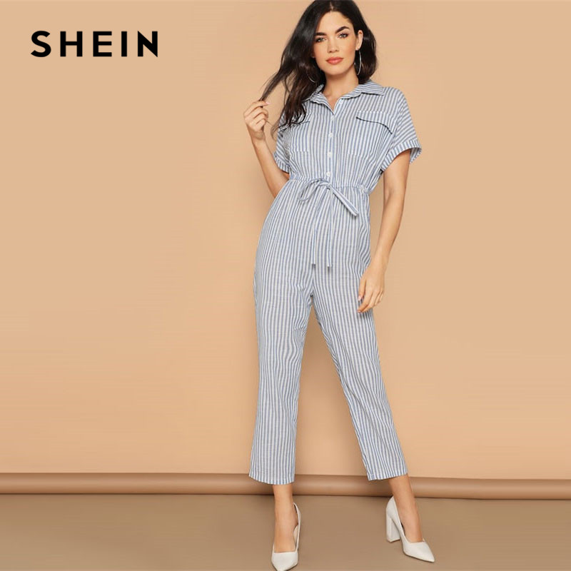 SHEIN Blue Striped Casual Flap Pocket Front Drawstring Waist Shirt   Jumpsuit   Women Spring High Waist Cotton Maxi Tapered   Jumpsuit