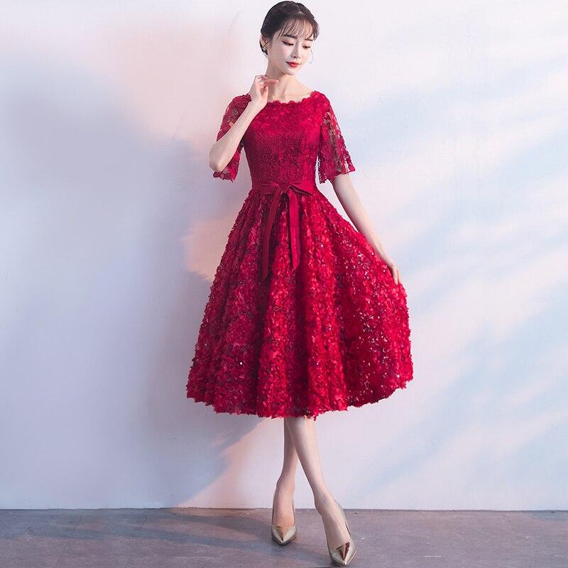 Dark สตรีสีแดงงานแต่งงานชุด O   Neck Evening Cheongsam Oriental Elegant ลูกไม้ Qipao ยาว Gowns Retro Vestido XS XXXL-ใน ชุดเดรส จาก เสื้อผ้าสตรี บน   3