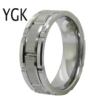 YGK Wedding Jewelry Lovers Ring Facet and Grooved Silver Tungsten Mens Bridegroom Engagement Anniversary