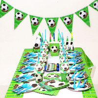 140pcs/lot Football Decoration For Birthday Party Tableware Set Napkin Cups Flag straw Kids Favor Boys Party Decoration Supplies