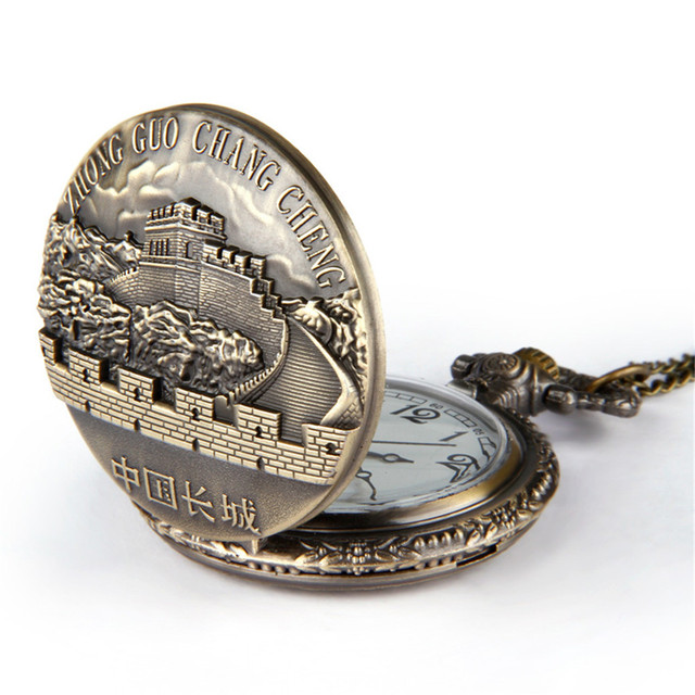 GEMIXI PocketWatches Vintage Bronze Great Wall Pendant Quartz Pocket Watch Neckl