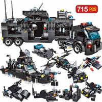 715 stücke City Polizei Station Bausteine Kompatibel Legoingly Stadt SWAT Team Lkw Blöcke Pädagogisches Spielzeug Für Jungen Kinder