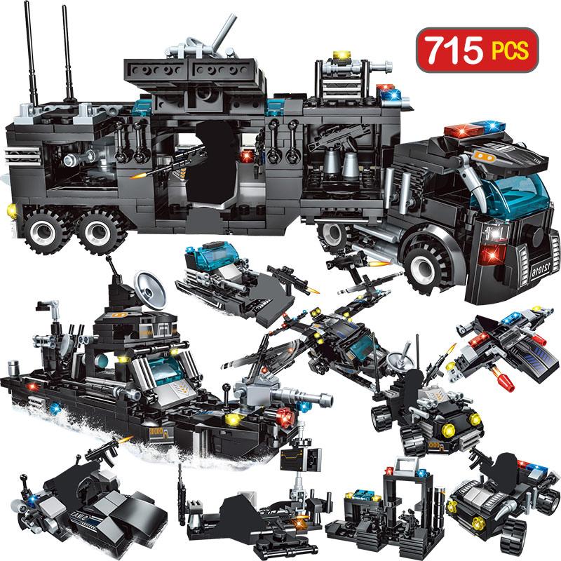 715pcs City Police Station Building Blocks Compatible Legoingly City SWAT Team Truck Blocks Educational Toy For Boys Children