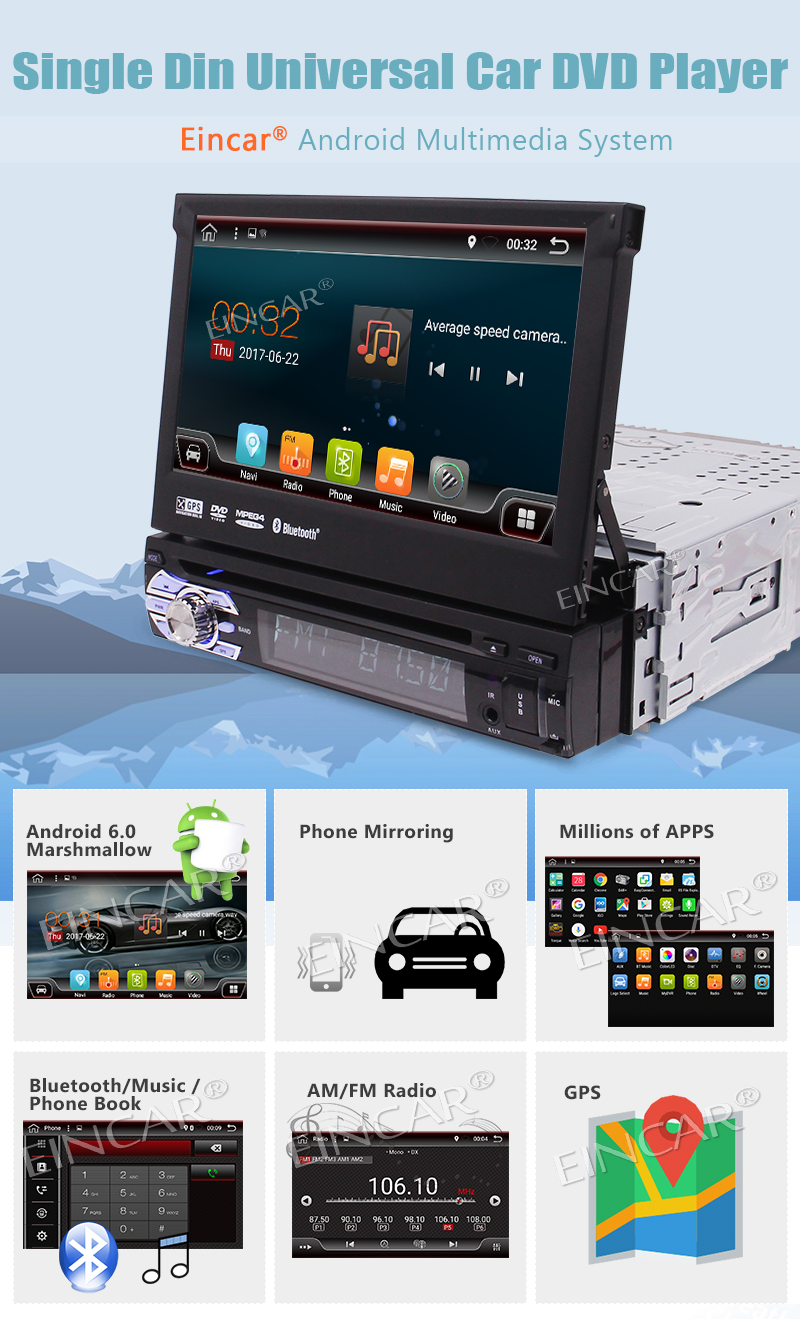 3G Dongle Included!Eincar 1 Din Android 6.0 Car Stereo DVD Player GPS Radio support OBD2 DAB+ WIFI 3G Bluetooth Radio RDS AV OUT