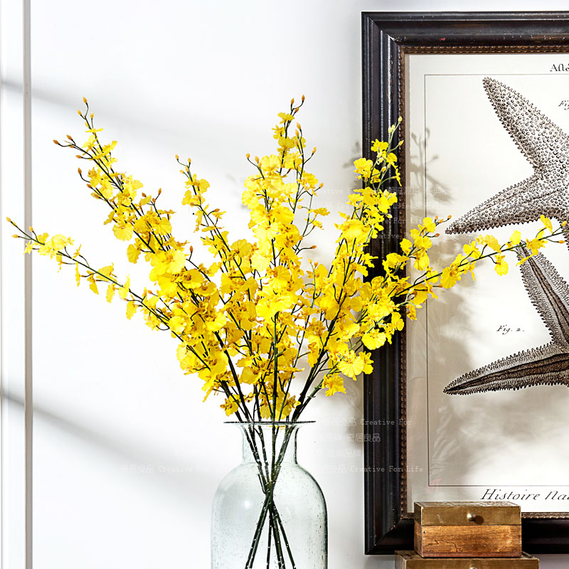 High quality fashion living room decoration artificial silk flower high quality fashion living room decoration artificial silk flower orchid yellow oncidium in artificial dried flowers from home garden on mightylinksfo