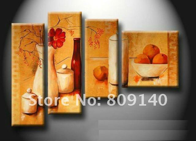 Kitchen dining room oil painting canvas artwork abstract for Kitchen and dining wall art
