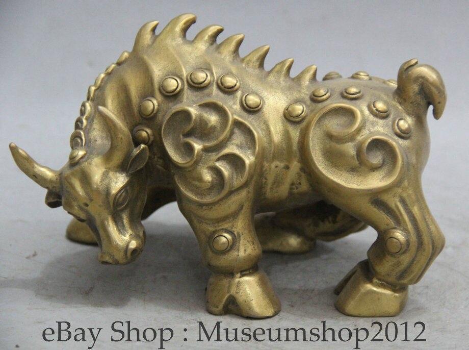 8' Китайский народный латунный год зодиака бык Телец сильный бой статуя животного скульптура