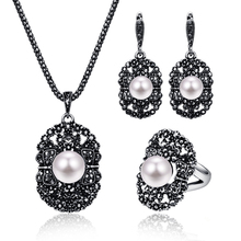 Модный геометрический кулон для женщин, антикварные ювелирные наборы, дизайн, этнические жемчужные бусы, Винтажные Ювелирные наборы, полный черный кристалл 20