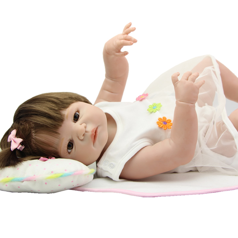23 Inch Reborn Realistic Baby Dolls Full Silicone Vinyl Newborn Babies Girl Princess Boneca Toy Children Birthday Xmas Gift