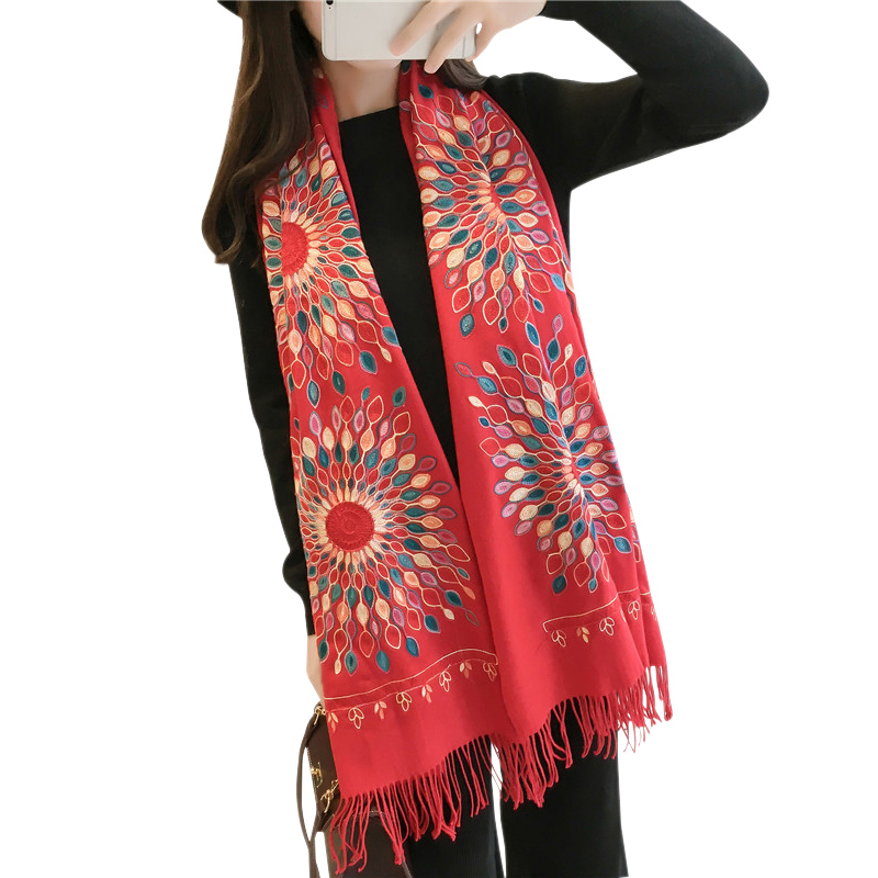 winter scarf 2017 designer Luxury women long floral embroidery scarf with Tassels ladies faux Cashmere wrap collar pashmina