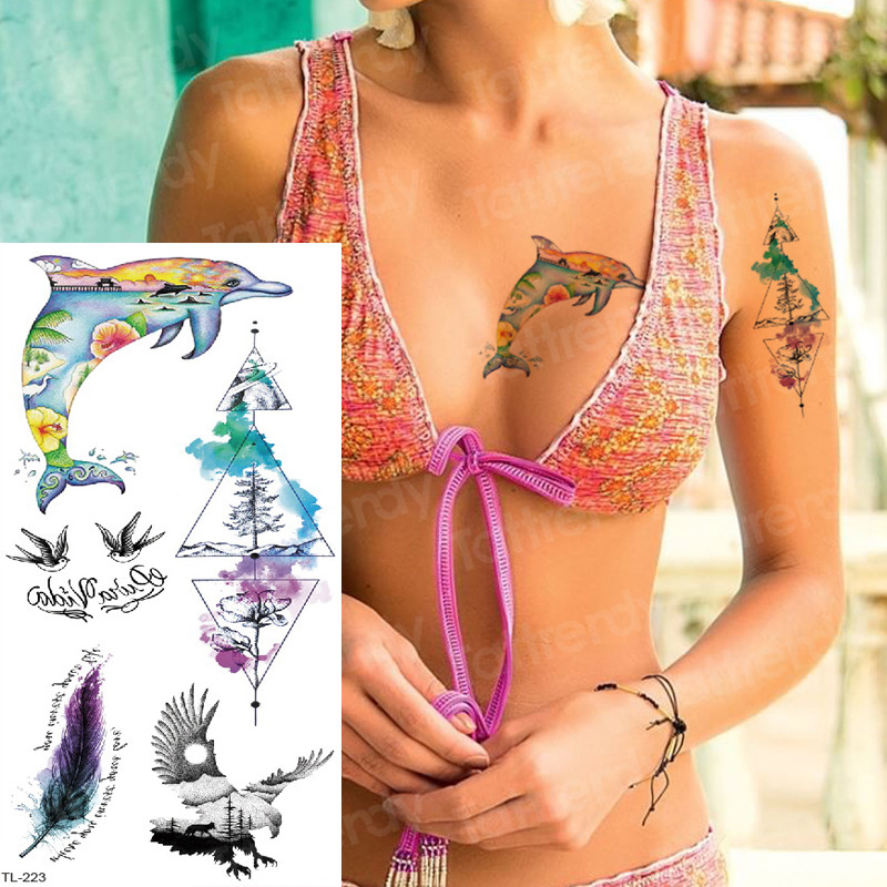 Tattoo Sticker Kids Tattoo Mermaid Sexy Tatoo For Woman Girls Summer Tattoo Sea Dolphin Forest Tattoos & Body Art Water Color