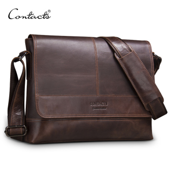 CONTACT'S genuine leather men shoulder bag for laptop men's briefcase crossbody bag bolsos man messenger bags male bolso hombre