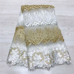 Image 1 - Fashion African Lace Fabric High Quality White gold Lace Nigerian Lace Fabric 2019 High Quality Lace With Beaded 5yards