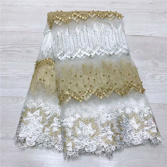 Fashion African Lace Fabric High Quality White gold Lace Nigerian Lace Fabric 2019 High Quality Lace With Beaded 5yards