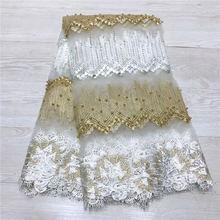 Moda afryki koronki tkaniny wysokiej jakości białe złote koronki nigerii koronki tkaniny 2019 koronka wysokiej jakości z koralikami 5 metrów