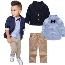 Gentleman Boy Clothes Spring&Autumn Child Country Clothing Set Boys Three Turn-down Collar Coat Tie Long Sleeve Piece Suit