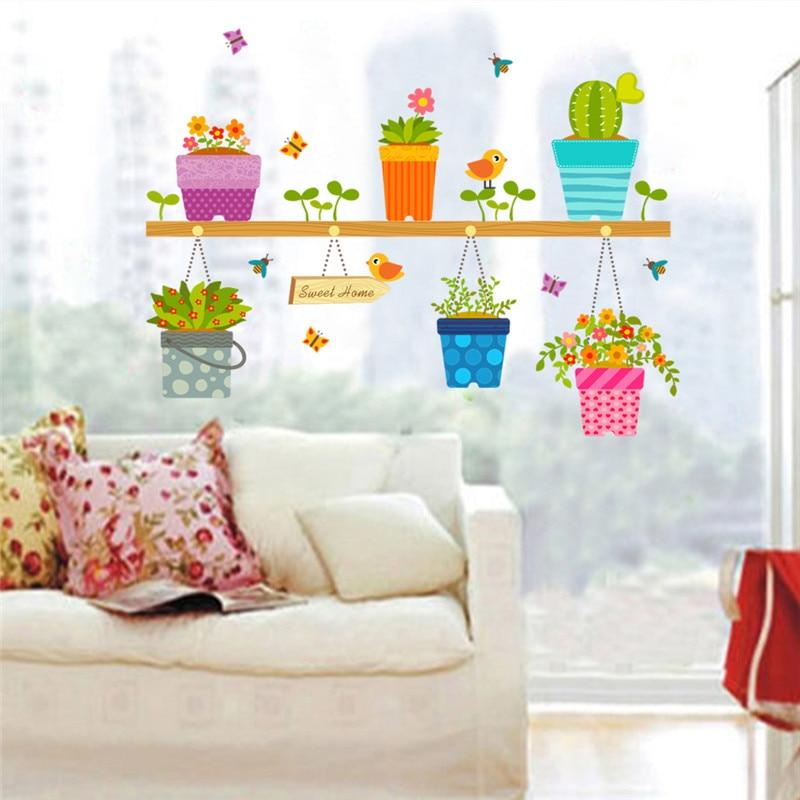 US $2.58 12% OFF 3d effekt Garten pflanze Blume schmetterling Vogel  Wandaufkleber Kindergarten Kinderzimmer Fenster Home Decor Blume Wandtattoo  Kunst ...