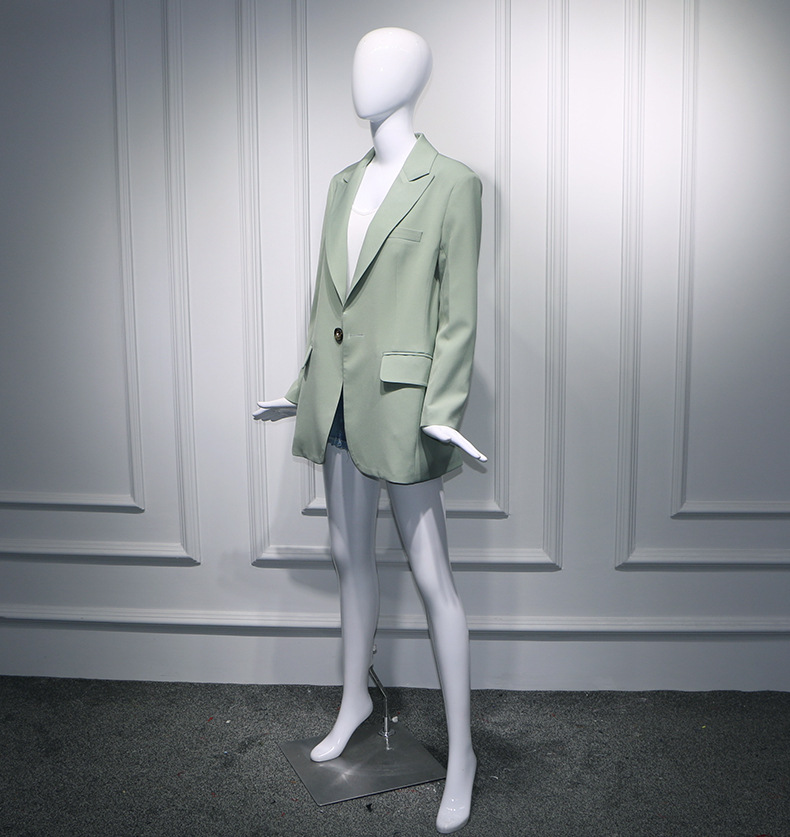 2019 Spring Mingxingzhangtianai Airport With Retro Green Loose Casual Temperament In The Long Suit Jacket Women And Coats