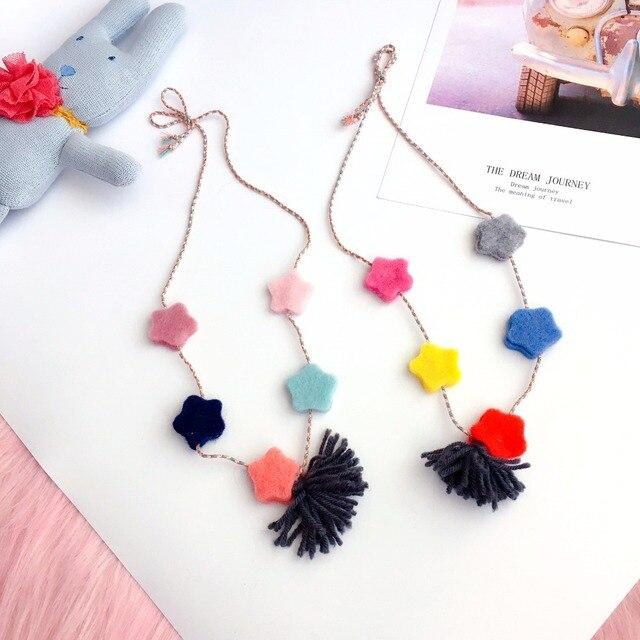 Korea New Handmade Cute Woolen Cartoon Star Tassel Kids Children Girls  Necklaces Fashion Jewelry Apparel Accessories-SWCGNL088F 17b54686937d