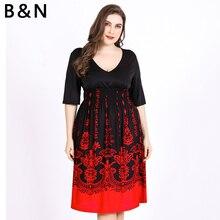 B&N Vintage Dress Half Sleeve Short Dress Women Summer Dress M-XXXXXXL Large Size Cloth Retro Black V Neck Sexy Pullover 6XL
