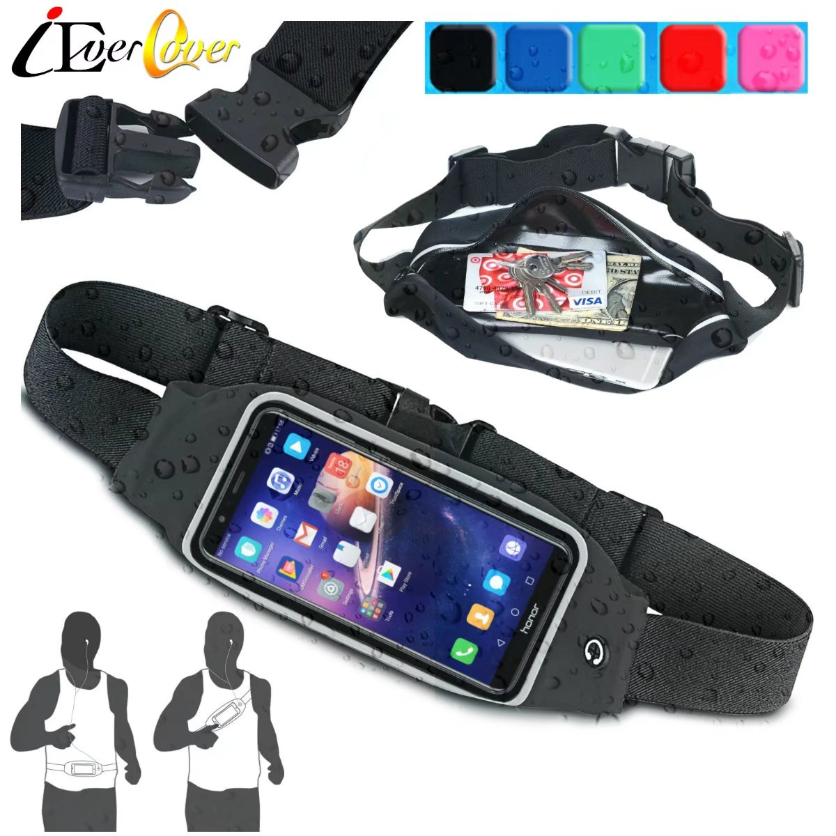 Waterproof Sport Running Waist Bag Band Fitness Pouch Case for Huawei Honor 7x / 9i, Nova 5 5i 4e 2i , Mate 30 20 10 Lite / Pro