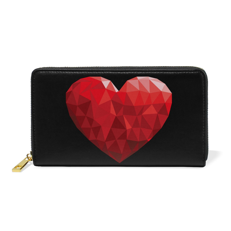 Red Heart Long Leather Wallet Women Zipper Long Card Holder Large Female Genuine Leather Money Bag for Girls Coin Purse 2018 New simple organizer wallet women long design thin purse female coin keeper card holder phone pocket money bag bolsas portefeuille