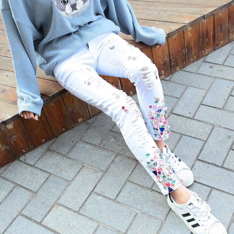 Abalorios Tobillo Longitud Mezclilla La Pantalones Mujeres 2019 Del Lápiz Delgados Denim Las Moda Agujero De Primavera White 7q6Aw4q