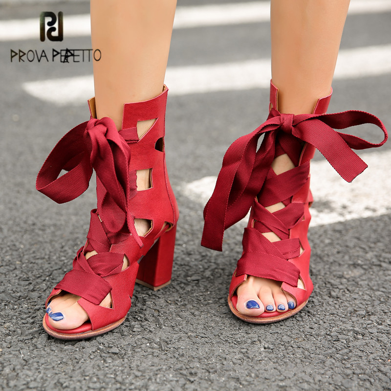 Prova Perfetto Sexy Red Hollow Out Gladiator Sandals Peep Toe Women Summer Boots Chunky High Heels Lace Up Women Pumps Stiletto prova perfetto women lace up gladiator sandals chunky high heels hollow out women platform pumps sandalias mujer stiletto