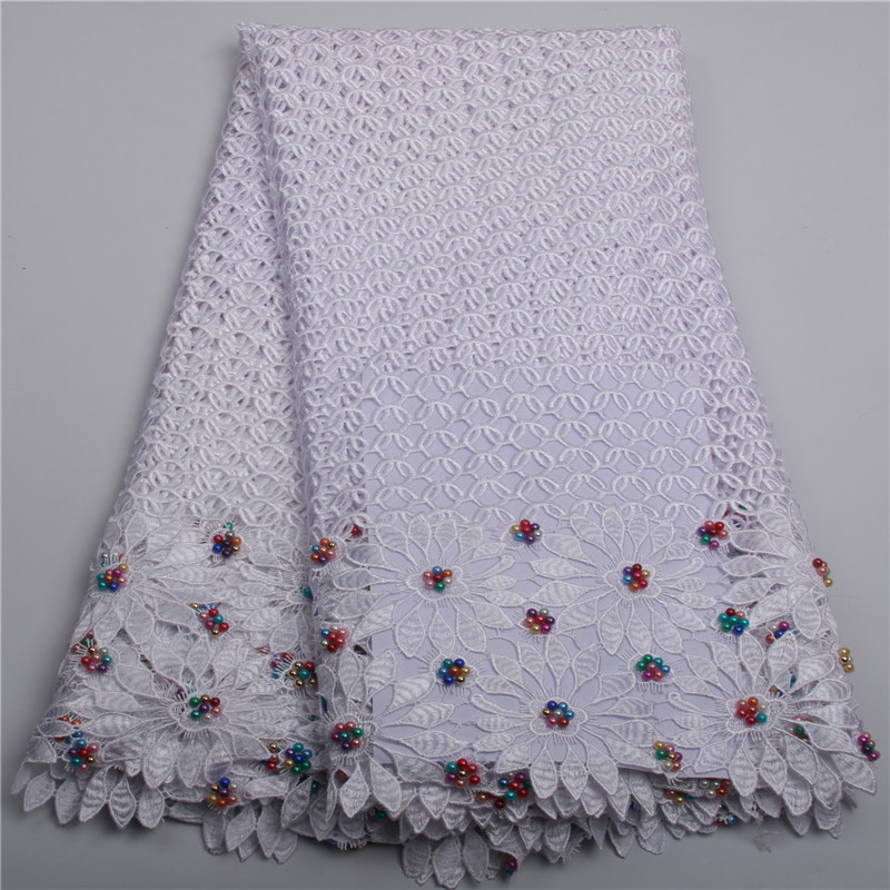African lace fabric 2018 high quality lace For Dress guipure lace alibaba express With Beads nigerian lace fabrics AMY212B-2