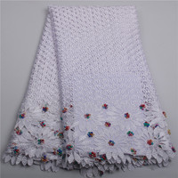 White African Cord Lace Fabrics High Quality For Women Dress 2016 Latest Guipure Lace Fabric With